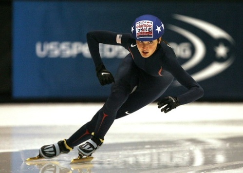 Olympic Speed Skater Alyson Dudek in action. (Photo courtesy news.spreadit.org)