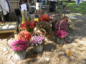 Fall flowers are displayed for sale at a craft vendor booth on Saturday, Oct. 12 during the 54th annual Fort Ligonier Days festival in Ligonier, Pa. (Photo by Alexandra Smith)