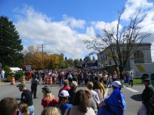 Fort Ligonier Days festival attendees walk around downtown Ligonier on Saturday, Oct. 12. (Photo by Alexandra Smith)