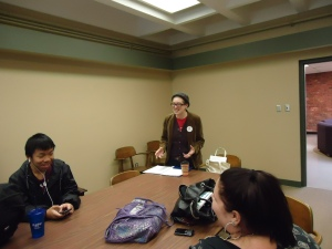 Adjunct Instructor in English Rebecca Mertz teaches students at Penn State New Kensington.