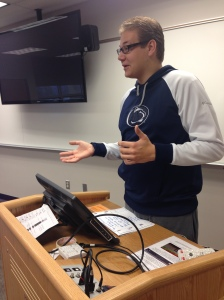 Corey Bobak, Campus Activities Board Marketing Chair, speaks during a CAB meeting. (Photo by Krista Murray)