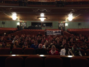 Penn State Students from the Fayette, DuBois and New Kensington campus' sit front row at the Benedum Theater for a question and answer segment with some of the actors after the show (Photo by: Lauren Blum)