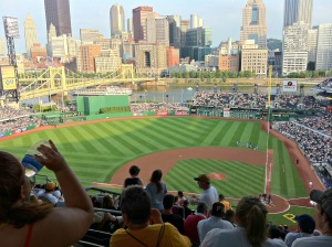 Watching a Pirates game at PNC Park in downtown Pittsburgh is one way to get outside and participate in local activities. (Photo by Alexandra Smith)