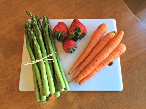 Produce such as asparagus, strawberries, and carrots are in season and abundant during the spring equinox. (Photo by Alexandra Smith)