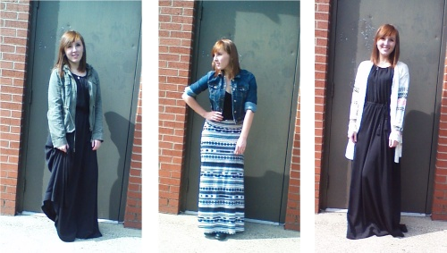 Maxi skirts and maxi dresses are versatile and create fun Fall outfits. Photographed by Paige Owens