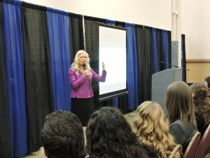 Jamie Simms giving the welcome speech on how to rock a job fair (Photo by Ryan McLaughlin).
