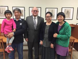 Professor Jia Li (far right) and her parents all received the opportunity to display and present their artwork at Penn State New Kensington this semester.